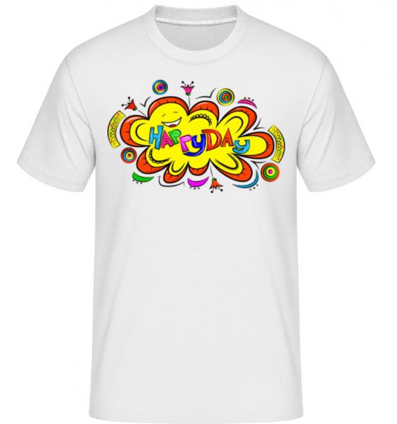 Happy Day Flower -  Shirtinator Men's T-Shirt - White - Front