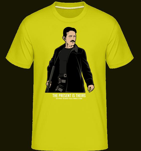 Tesla Matrix -  Shirtinator Men's T-Shirt - Lime - Front