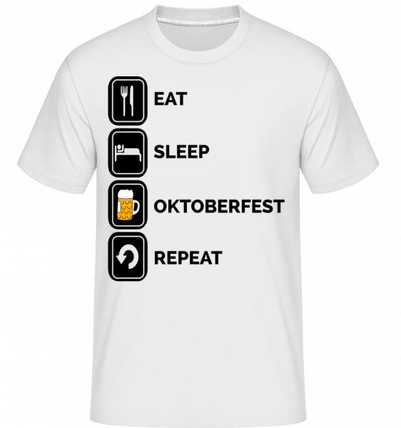 Eat Sleep Oktoberfest Repeat - Shirtinator Männer T-Shirt - Weiß - Vorn