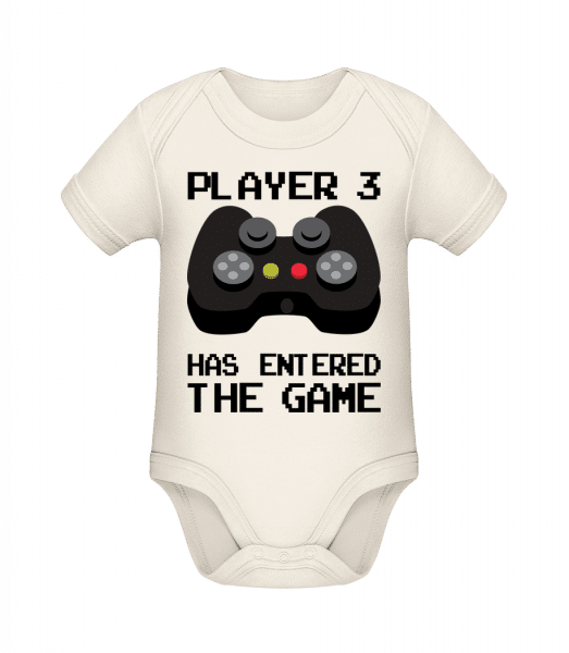 Player 3 Entered The Game - Organic Baby Body - Cream - Front