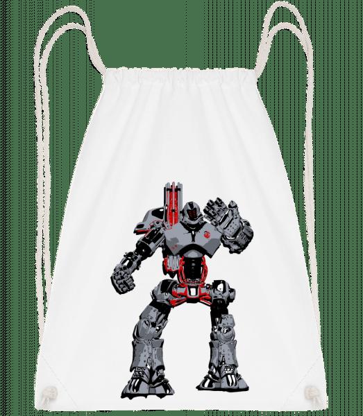 Fighting Robots - Drawstring Backpack - White - Vorn