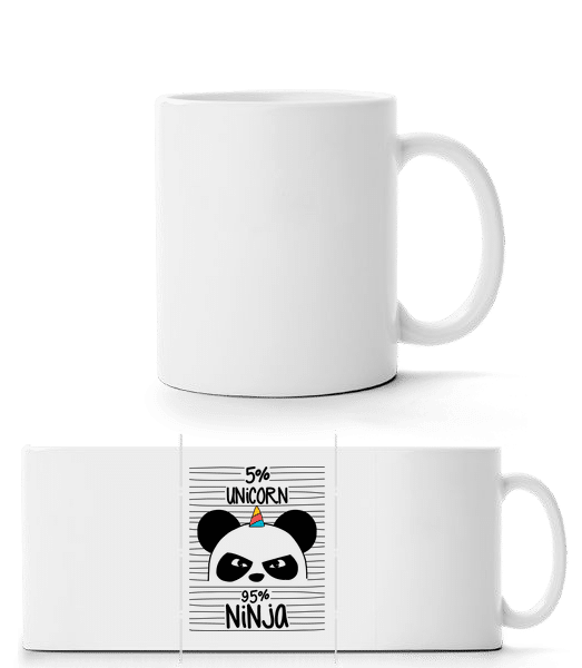 5% Unicorn 95% Ninja - Panorama Mug - White - Front