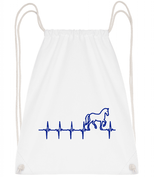 Horse Heartbeat - Drawstring Backpack - White - Vorn