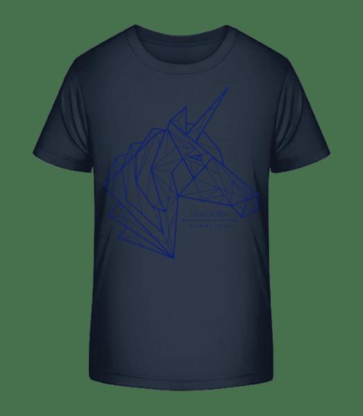 Geometrie Einhorn - Kid's Premium Bio T-Shirt - Navy - Vorn