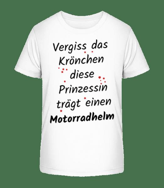 Prinzessin Trägt Motorradhelm - Kinder Premium Bio T-Shirt - Weiß - Vorn