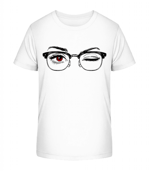 Hipster Eyes Red - Kid's Premium Bio T-Shirt - White - Vorn