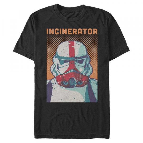 Halftone Incinerator Trooper - Star Wars Mandalorian - Men's T-Shirt - Black - Front
