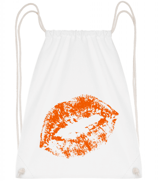 Orange Lips - Drawstring Backpack - White - Vorn
