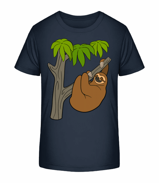 Sloth On The Tree - Kid's Premium Bio T-Shirt - Navy - Vorn