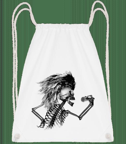 Singing Skeleton - Drawstring Backpack - White - Vorn