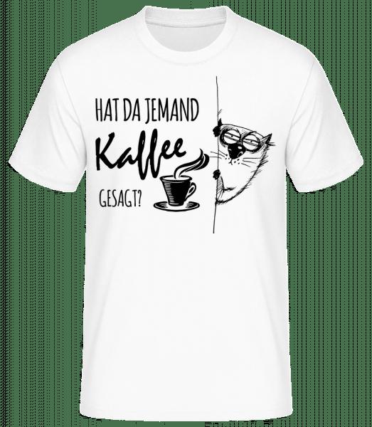 Kaffee Katze - Männer Basic T-Shirt  - Weiß - Vorn