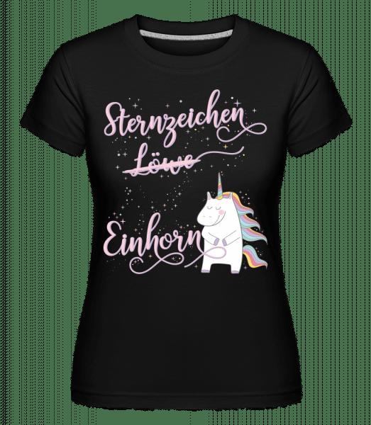 Sternzeichen Einhorn Löwe - Shirtinator Frauen T-Shirt - Schwarz - Vorn