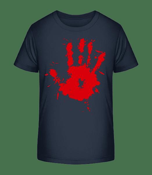 Blutiger Handabdruck - Kinder Premium Bio T-Shirt - Marine - Vorn