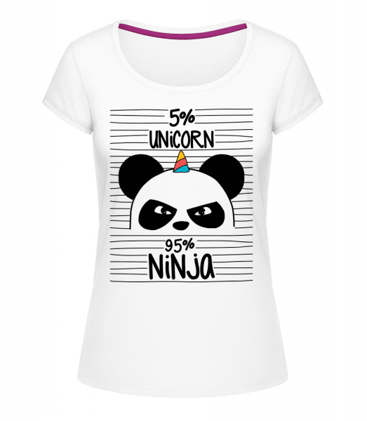 5% Unicorn 95% Ninja - Megan Crewneck T-Shirt - White - Vorn