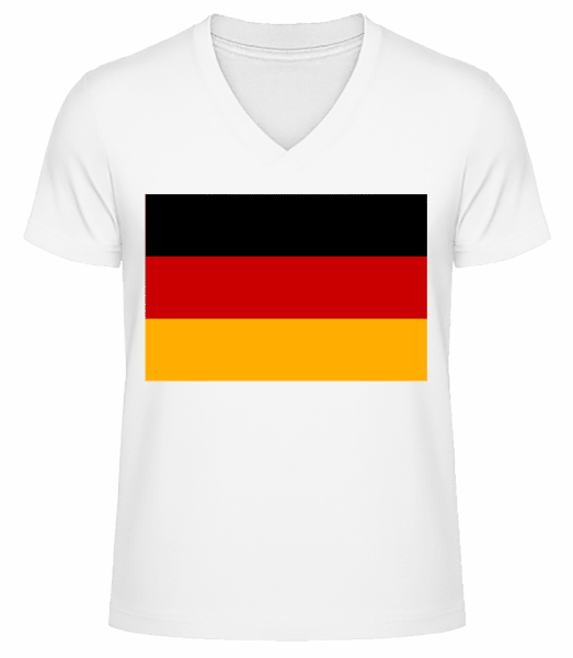 Flag Germany - Men's V-Neck Organic T-Shirt - White - Vorn