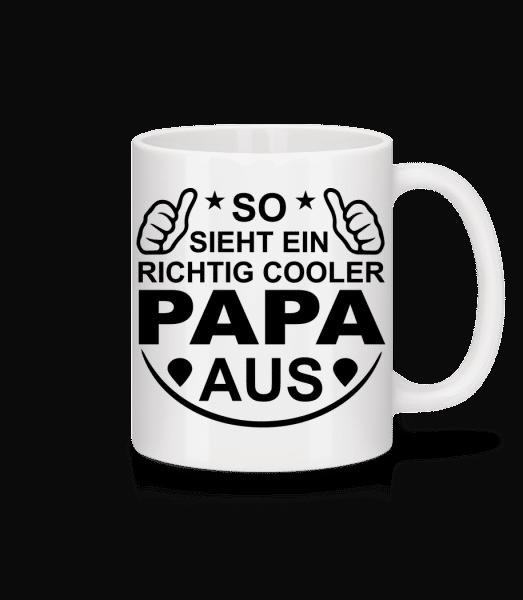 Richtig Cooler Papa - Tasse - Weiß - Vorn