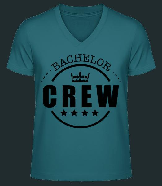 Bachelor Crew - Men's V-Neck Organic T-Shirt - Petrol - Vorn