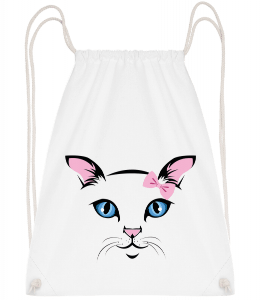 Cute Cat Kids - Drawstring Backpack - White - Vorn