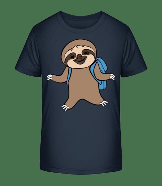 Cute Sloth With Bag - Kid's Premium Bio T-Shirt - Navy - Vorn