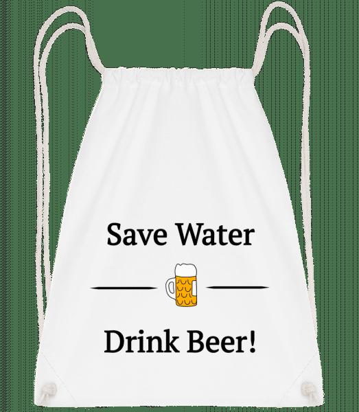 Save Water Drink Bier - Drawstring Backpack - White - Vorn