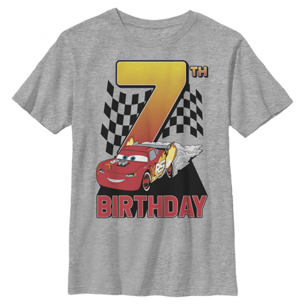 Lightning Birthday 7 Lightning McQueen - Pixar Cars 2 - Kids T-Shirt - Heather grey - Front