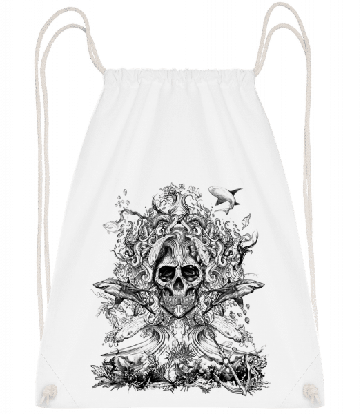 Water God Of Death - Drawstring Backpack - White - Vorn