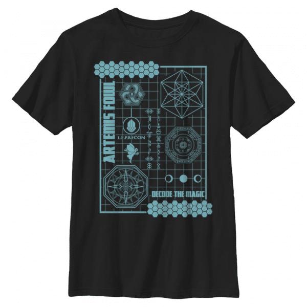 Artemis Fowl Schematic - Disney - Kids T-Shirt - Black - Front