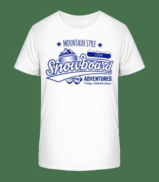 Snowboarding Mountain Style Logo - Kid's Premium Bio T-Shirt - White - Front