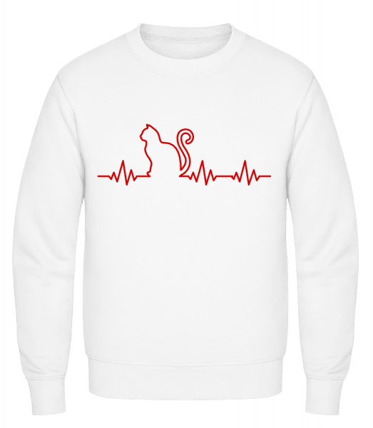 Heartbeat Cat - Classic Set-In Sweatshirt - White - Vorn