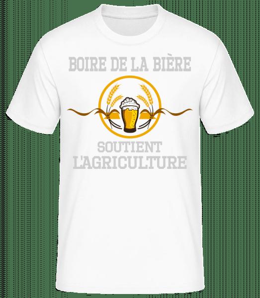 Boire De La Bière - T-shirt standard homme - Blanc - Devant