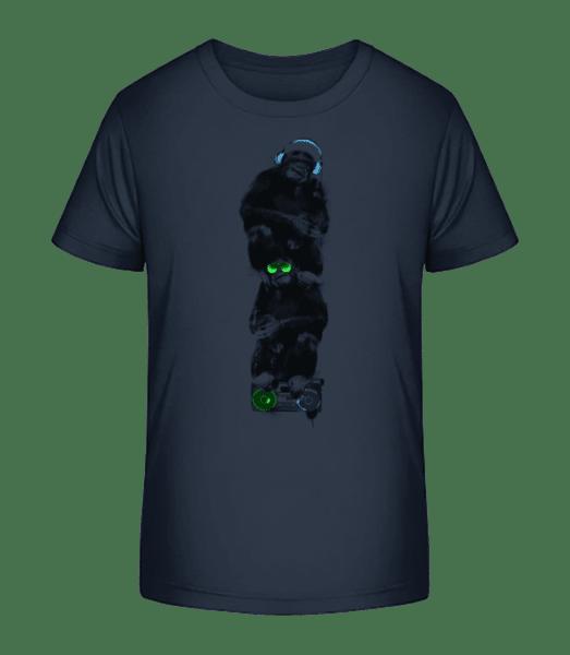 Musik Affen - Kinder Premium Bio T-Shirt - Marine - Vorn