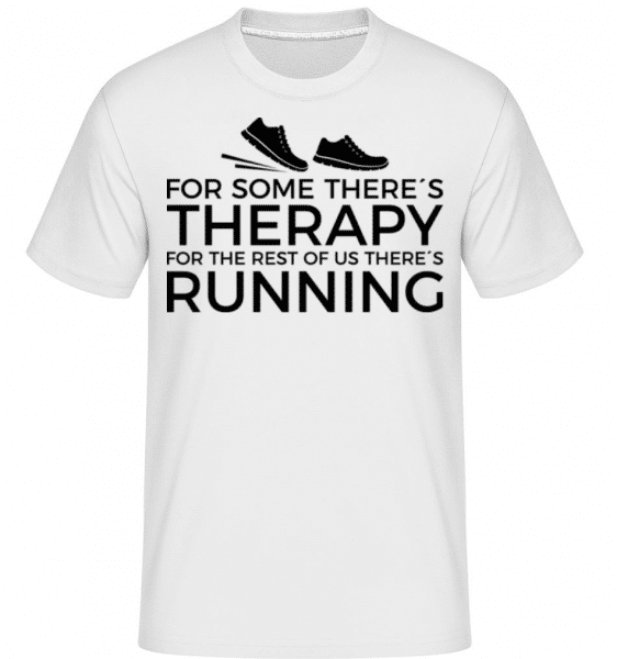 Running Is My Therapy -  Shirtinator Men's T-Shirt - White - Front