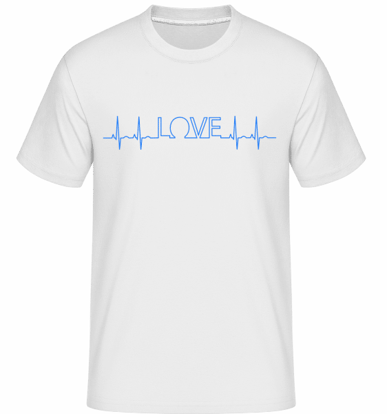 Love Heartbeat -  Shirtinator Men's T-Shirt - White - Vorn