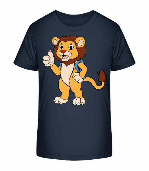 Cute Lion With Bag - Kid's Premium Bio T-Shirt - Navy - Front
