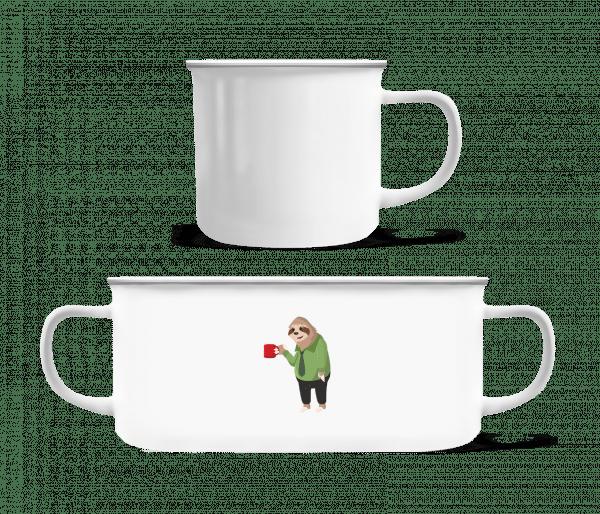 Sloth Drinks Coffee - Enamel-cup - White - Vorn