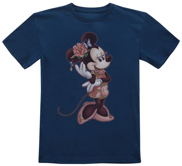 Minnie Floral Fill Minnie Mouse - Disney Mickey - Kids T-Shirt - Navy - Front