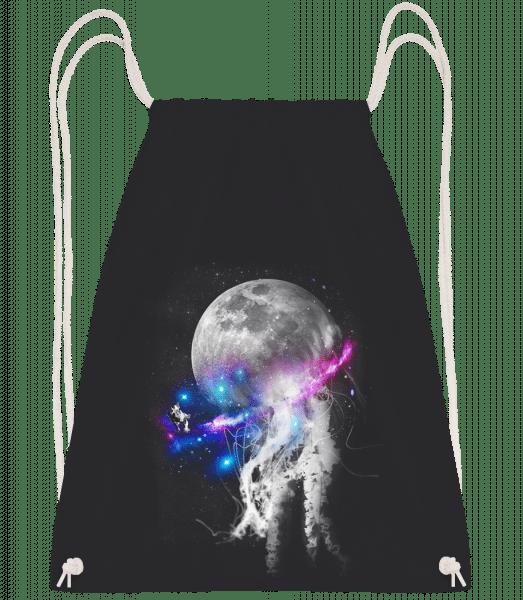 Astronaut And Galaxy - Drawstring batoh se šňůrkami - Černá - Napřed