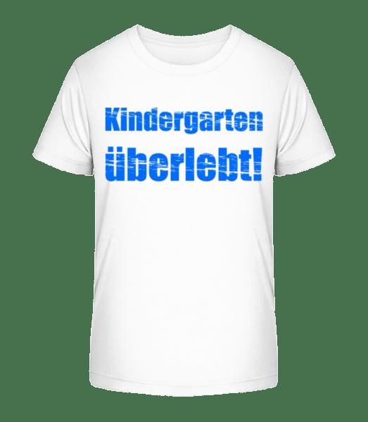 Kindergarten Überlebt! - Kinder Premium Bio T-Shirt - Weiß - Vorn