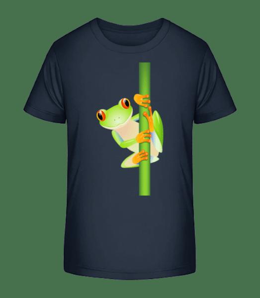 Frog On Reed - Detské Premium Bio tričko - Namořnická modrá - Napřed