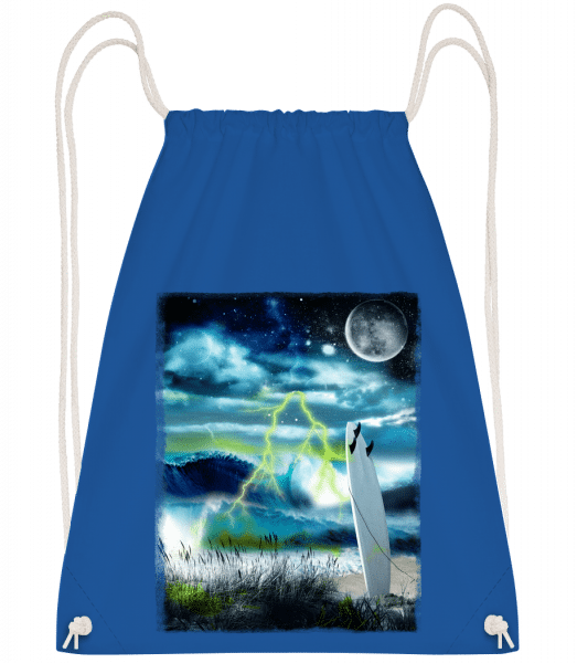 Beach In Space - Drawstring Backpack - Royal blue - Vorn