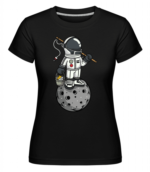 Astronaut Fishing -  Shirtinator Women's T-Shirt - Black - Front