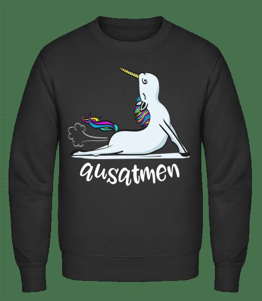 Ausatmen Einhorn Yoga - Männer Pullover - Schwarz - Vorn