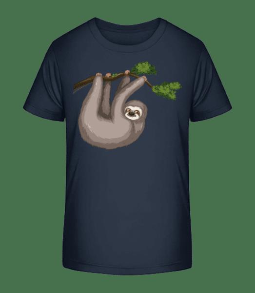 Sloth Hanging On A Branch - Kid's Premium Bio T-Shirt - Navy - Vorn