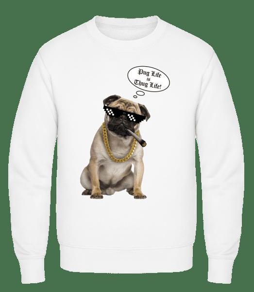 Pug Life Thug Life - Classic Set-In Sweatshirt - White - Vorn