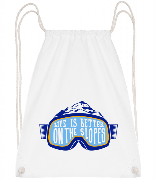Life Is Better On The Slopes - Sac à dos Drawstring - Blanc - Devant