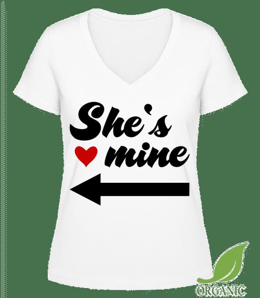"""She Is Mine - """"Janet"""" Organické tričko s V-výstřihem - Bílá - Napřed"""