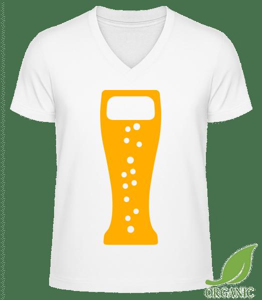 """Beer Glas - """"James"""" Organic V-Neck T-Shirt - White - Vorn"""