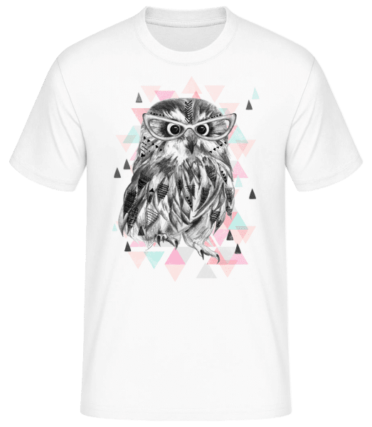 Hipster Owl - Men's Basic T-Shirt - White - Front