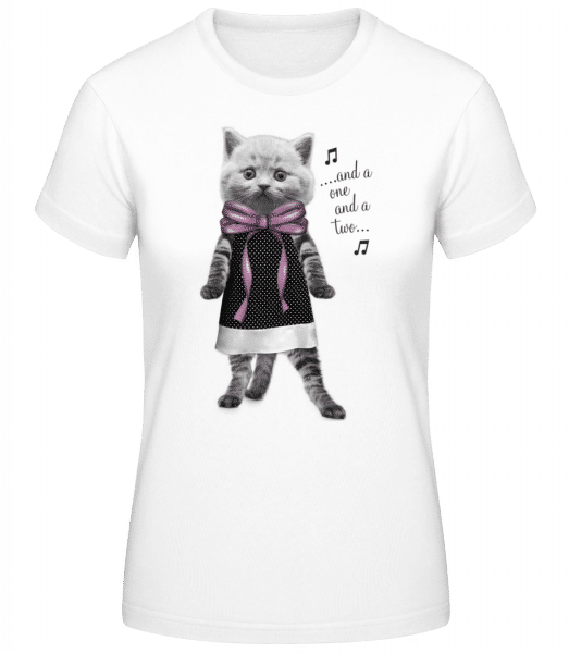 Dancing Cat - Women's Basic T-Shirt - White - Front