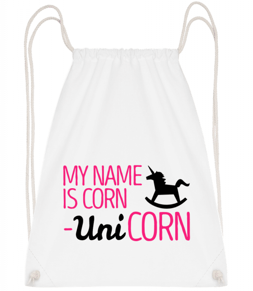 My Name Is Corn, Unicorn - Drawstring Backpack - White - Vorn